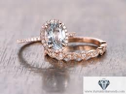 wedding band and engagement ring oval cut aquamarine diamond pave halo engagement ring matching