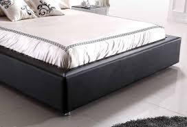 Black Leather Platform Bed Zeus Modern Black Leather Platform Bed W Lift Storage