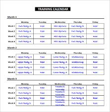 training calendar template free blank calendar templates