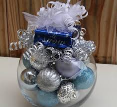 Christmas Table Decorations In Blue And Silver by Christmas Centerpiece Silver And Blue Holiday Decoration