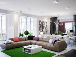 L Shaped Sofa by Green Brown Living Room L Shaped Sofa Interior Design Ideas