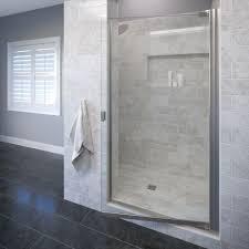 Glass Shower Doors Frameless by Basco Classic 33 1 4 In X 66 In Semi Frameless Pivot Shower Door