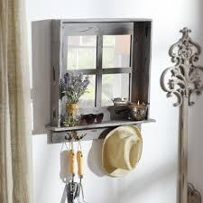 Entryway Shelf Gray Window Pane Wall Shelf Mirror With Hooks Organizations