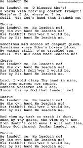 Comfort Me Lyrics Baptist Hymnal Christian Song He Leadeth Me Lyrics With Pdf For