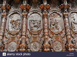 carvings ornaments on the choir stalls mezquita catedral stock