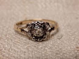 antique rose rings images 14k antique rose ring with 5 small diamonds year 1932 no reserve jpg