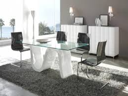 Dining Room Modern Furniture Omega Modern Clear Glass Dining Table With A Curved High Gloss Base