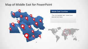 Middle East Map Countries by Middle East Map Template For Powerpoint Slidemodel