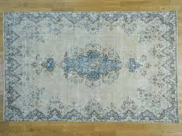 Faded Persian Rug by 7 U0027x11 U0027 Hand Knotted White Wash Kerman Zero Pile Shaved Thin