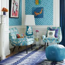 decor funky blue living room with ikat chair and blue leather pouf