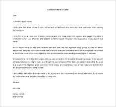 sample character reference letter student