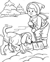 download boy dog playing snow winter coloring pages kids