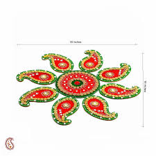 buy red and green handmade wood clay floral floor art rangoli