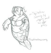 sketch design u2013 sea turtle mermaid rachel illustrates fantasy