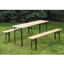 Wood Camping Table Outsunny Portable Camping Picnic Table Set Natural Wood Aosom Co Uk