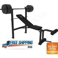 Workout Bench Modells Weight Bench Set Cap Barbell Deluxe With 100lb Weights Lifting