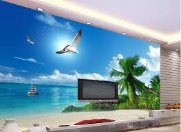 mediterranean landscape blue sky beach tv wall mural 3d wallpaper see larger image