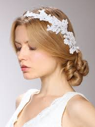 bridal garland one sided bridal veil with white lace garland headband