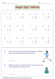 single digit addition worksheets