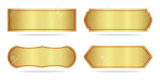 gold name plate set of gold label metal or metallic gold name plate vector