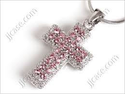 cross necklace pink images Crystal cross necklace all collections of necklace jpg