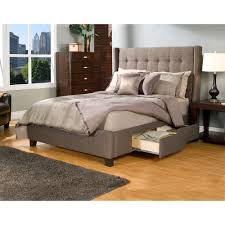 King Storage Platform Bed Manhattan Wingback Fabric Upholstered Storage Bed In Charcoal