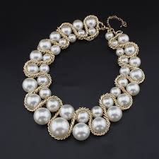 statement necklace pearls images Manilai factory price bib chunky imitation pearl necklaces women jpg