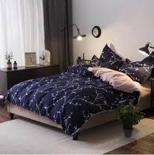 Comfortable Bed Sets Blue 4pcs Bedding Set Modern Flower Blue Comfortable