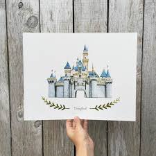 disneyland castle illustration print heather mettra art