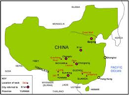 china on a map china map of walking locations beijing great wall yunnan