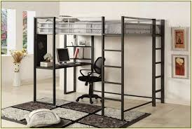 furniture simple black polished metal loft bed with ladder and l