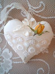 shabby chic suffed fabric lace pocket heart another beautiful item