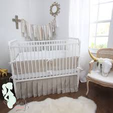Infant Crib Bedding White Linen Gender Neutral Baby Crib Bedding