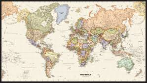 New World Map by Political World Wall Map With Antique Oceans
