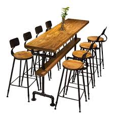 High Bar Table Industrial Style Retro Bar Table Coffee Shop Solid Wood Wall High