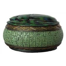 egyptian scarab jewelry box in green ancient egypt trinket box