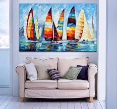 sailboat home decor sail regatta colorful sailboats painting palette knife oil picture