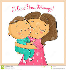 mother u0027s day greeting card with mother and child isolated on wh