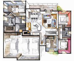 Floor Plan Interior Real Estate Watercolor 2d Floor Plans Part 3 On Behance Floor