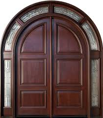 Home Inside Arch Model Design Image Front Door Custom Double Solid Wood With Dark Mahogany Finish