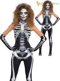 ladies bone a fied goth skeleton halloween fancy dress