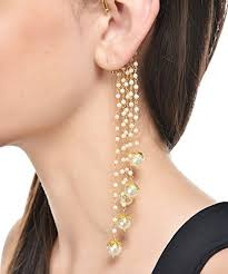 earrings for shining party wear pearl drops multi strings ear cuffs