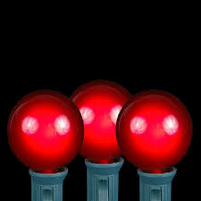 red and white bulb christmas lights 100 red g40 globe round outdoor string light set on white wire