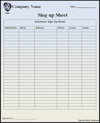 Volunteer Sign Up Sheet Template Free Customizable Printable Sign Up Sheets Templates Right Above This