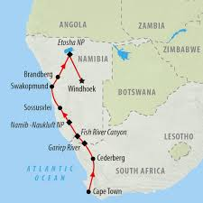 Namibia Map Namibia Tours And Safari Holidays On The Go Tours Au