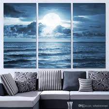 Wall Art Paintings For Living Room 2017 3 Panels Canvas Art Full Moon Moonlight Sea Home Decor Wall