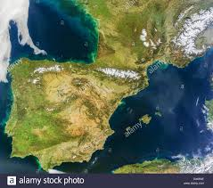 Map Of Spain And France by Satellite Image Of The Iberian Peninsula Spain And Portugal Stock