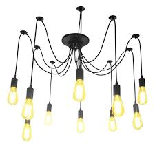 Retro Hanging Light Fixtures Lightess Spider Pendant Lighting 10 Heads Edison Chandelier