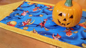 halloween table runner vintage inspired witches black cats bats