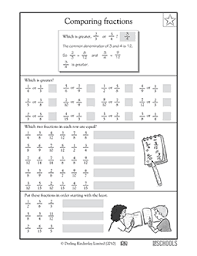 4th grade math worksheets comparing fractions 4th grade